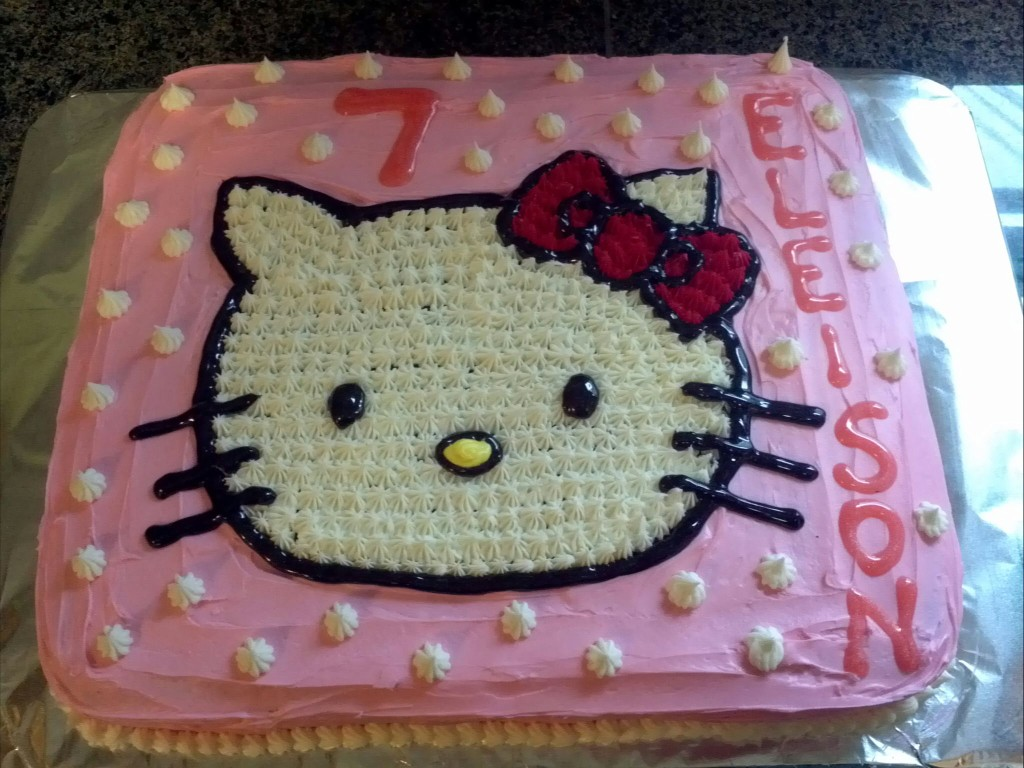 ... made this Hello Kitty cake for our daughter's 7th birthday today
