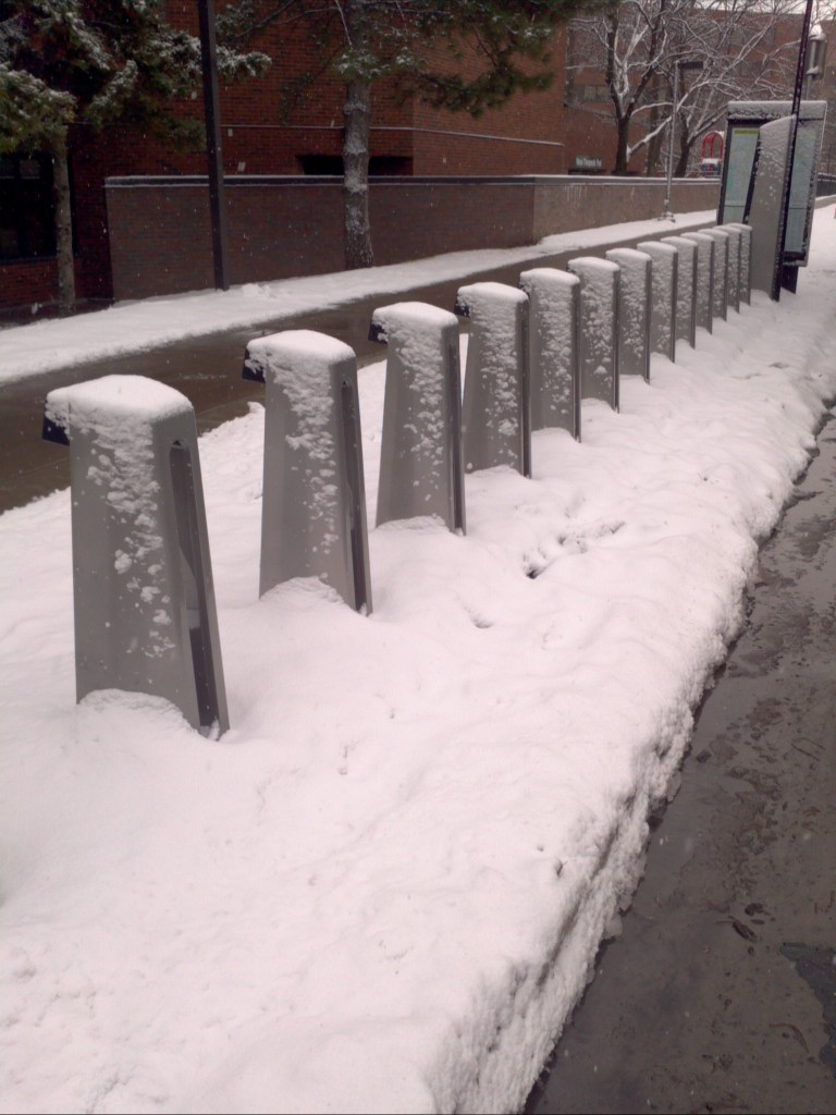 Bike Share Rack Still Snowed In