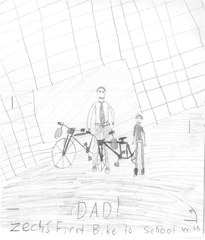 Zechs First Bike Ride to School Drawing