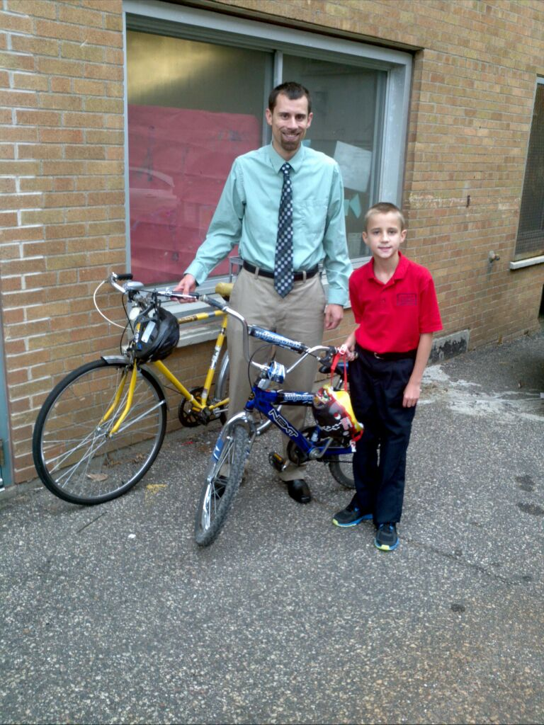 Zechs First Bike Ride to School Picture